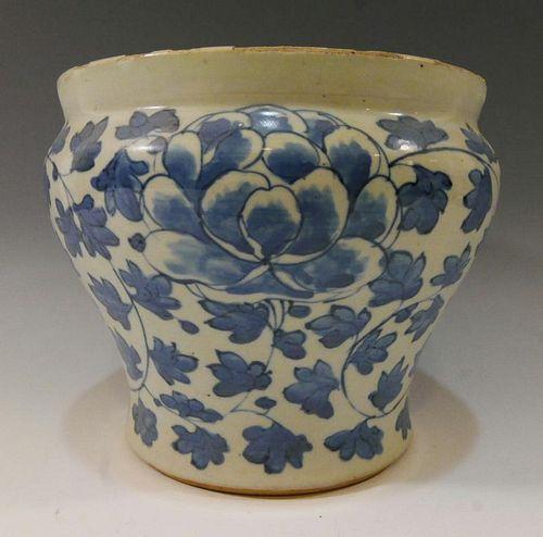 KOREAN ANTIQUE BLUE WHITE POT - JOSEON DYNASTY