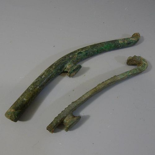 PAIR ANTIQUE CHINESE BRONZE BELT BUCKLE - WARRING STATE PERIOD