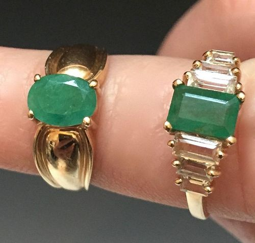 TWO 14K YELLOW GOLD AND EMERALD RINGS, 21. 53