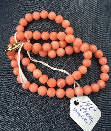 14K PINK CORAL NECKLACE