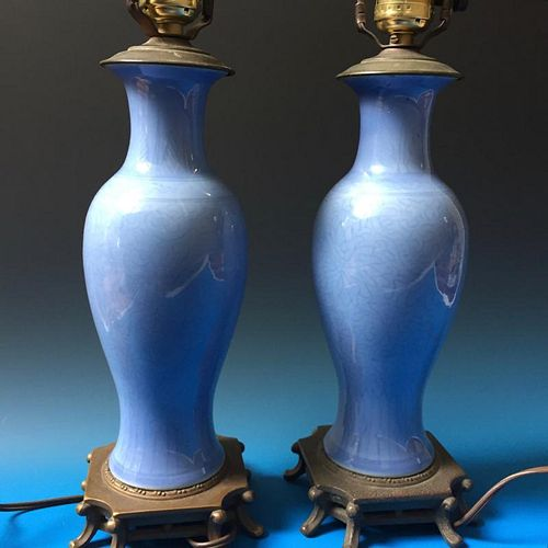 A PAIR CHINESE ANTIQUE BLUE VASES LAMPS