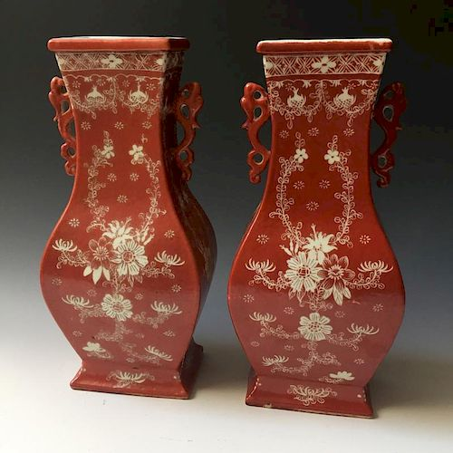 A PAIR CHINESE ANTIQUE IRON-RED PORCELAIN VASES, LATE 19C
