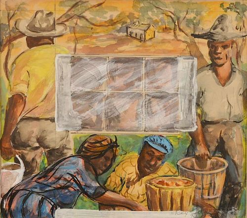 """Rex Goreleigh (1902-1986)  watercolor  Rear Wall Migrant Series - """"Picking Apples""""   signed lower right in painting: Rex Gore"""