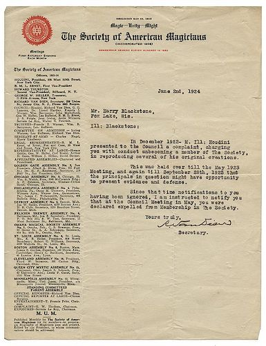 "Harry Houdini vs. The Great Blackstone. File of Documents Regarding Houdini's Charge Against Blackstone's Use of the ""O"