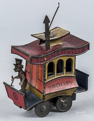 Tin litho wind-up Toonerville Trolley, copyright 1932, by Fontaine Fox, 5'' l.