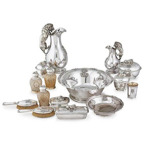 FRENCH SILVER AND GLASS TOILET SERVICE