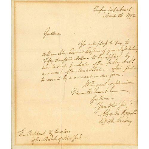 1792 ALEXANDER HAMILTON LETTER