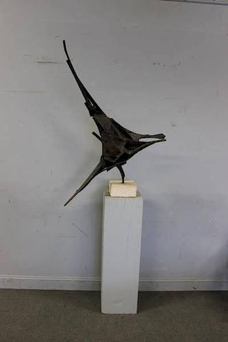 Abstract Iron Sculpture on Marble Base on Stand.