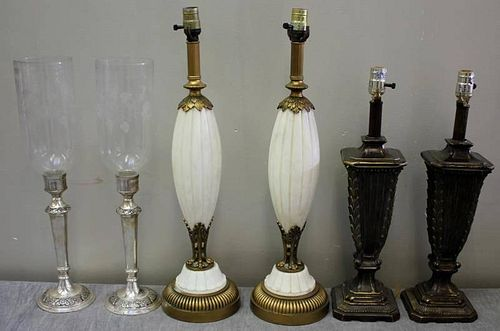 Lighting Lot Including Pair of Marble Lamps.