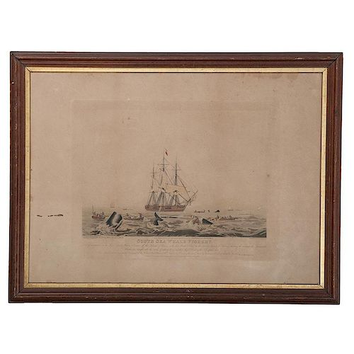<i>South Sea Whale Fishery</i> Engraving After William J. Huggins (English, 1781-1845)