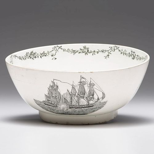 Creamware <i>Numa</i> Ship Punch Bowl