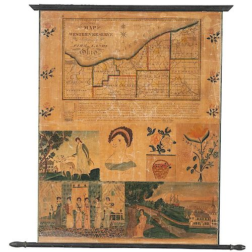 Unique and Important Folk Art Embellished Map of the Western Reserve and Fire Lands of Ohio, ca 1826