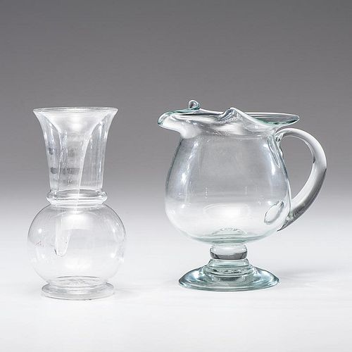 Free Blown Glass Pitcher and Vase