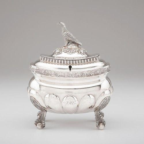 New York Coin Silver Tea Caddy