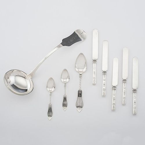 <i>Duhme</i> Coin Silver Ladle and Flatware