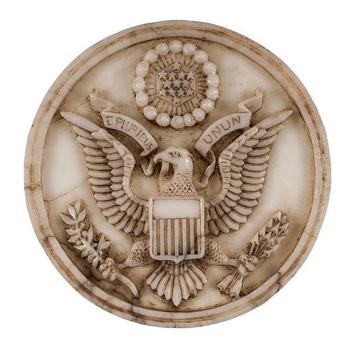 Alabaster Carving Medallion of the Great Seal of the United States
