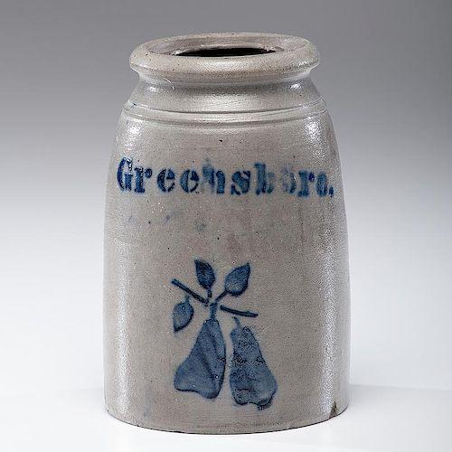 Greensboro Stoneware Jar with Stenciled Pears