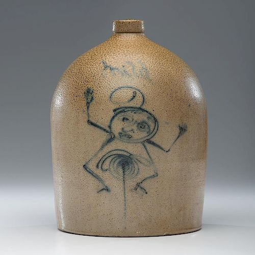 Red Wing Stoneware Jug with Cobalt Figure