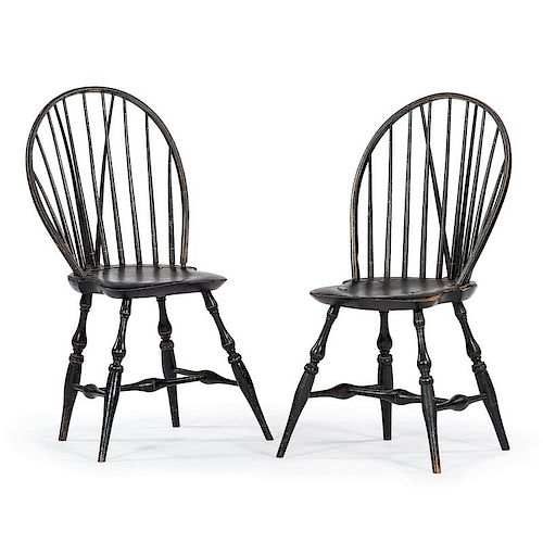 Brace Back Windsor Chairs in Original Paint