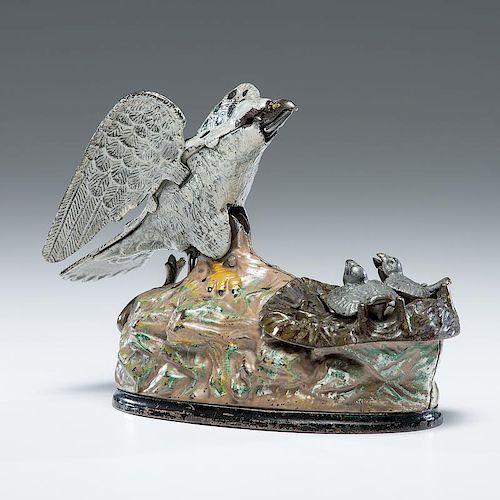 Eagle & Eaglets Mechanical Bank by <i>J. & E. Stevens</i>