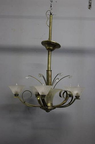 Deco / Midcentury Brass Chandelier.