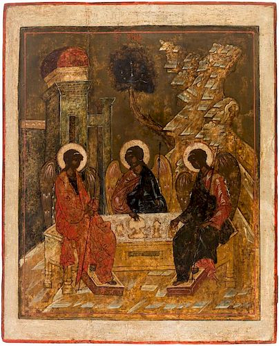 A LARGE RUSSIAN ICON OF THE HOLY TRINITY, CENTRAL RUSSIA, MID-16TH CENTURY