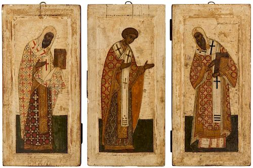 A GROUP OF THREE RUSSIAN ICONS OF ARCHBISHOPS, LIKELY NOVGOROD, CIRCA 1700