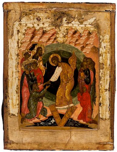 A RUSSIAN ICON OF THE RESURRECTION OF CHRIST, NOVGOROD, END OF THE 16TH CENTURY