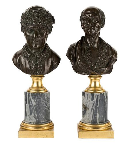 A PAIR OF FINE FRENCH BRONZE BUSTS OF ROUSSEAU AND VOLTAIRE ON MARBLE AND ORMOLU BASES, 18TH-19TH CENTURY