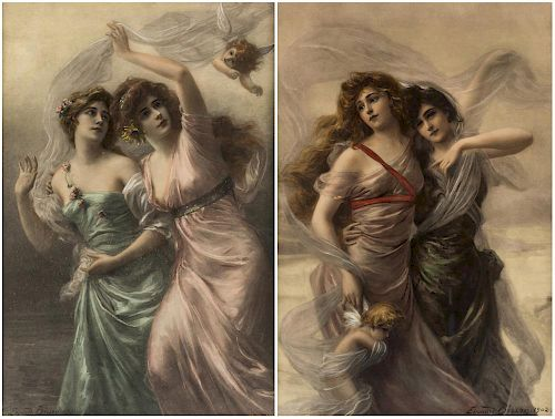 A PAIR OF HAND-COLORED LITHOGRAPHS BY EDOUARD BISSON (FRENCH 1856-1939)
