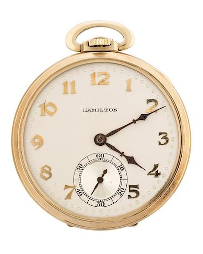 HAMILTON, LANCASTER 14K GOLD POCKET WATCH