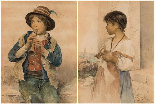 A PAIR OF DRAWINGS BY CLELIA BOMPIANI-BATTAGLIA (ITALIAN 1847-1927)