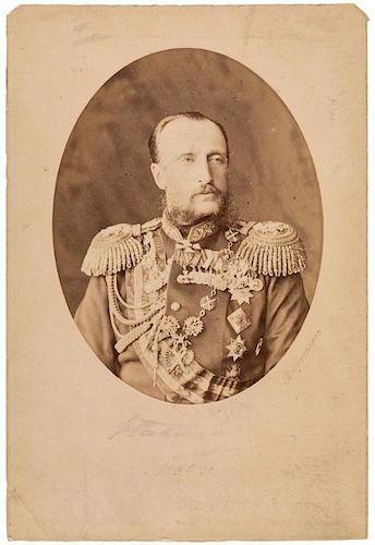 AN AUTOGRAPHED RUSSIAN CABINET PHOTOGRAPH OF GRAND DUKE NIKOLAI NIKOAEVICH THE ELDER, ST. PETERSBURG, 1880