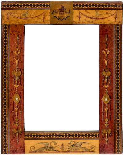 A WOOD MARQUETRY FRAME, PROBABLY RUSSIAN 19TH CENTURY