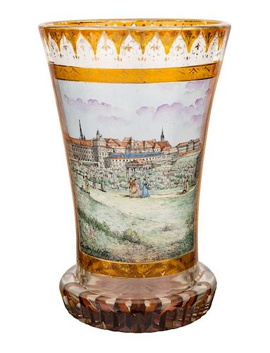 AN ANTIQUE AUSTRIAN HAND-PAINTED GLASS WITH IMAGE OF THE VIENNA HOFBURG, VIENNA, LATE 19 CENTURY