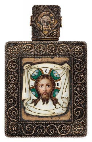 A GILT-SILVER AND CHAMPLEVE ENAMEL PENDANT ICON, PAVEL OVCHINNIKOV, MOSCOW, 1899-1908