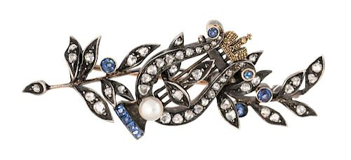 A FABERGE GOLD, DIAMOND, SAPPHIRE AND PEARL PRESENTATION BROOCH WITH LYRE, MARK OF KARL FABERGE, MOSCOW, 1898-1908