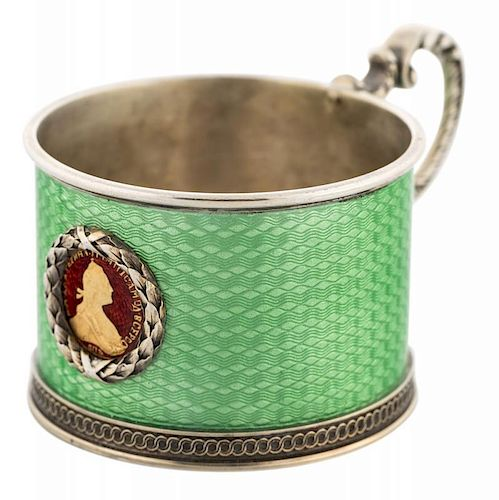 A FABERGE SILVER AND TRANSLUCENT ENAMEL SMALL CUP, MOSCOW, 1899-1908