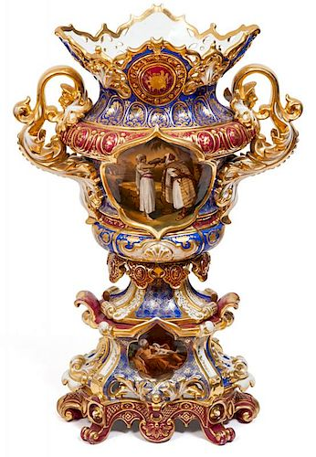 A RUSSIAN NEO-BAROQUE PORCELAIN VASE, PRIVATE FACTORY, 1850S-1860S