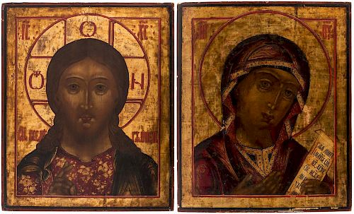 A PAIR OF RUSSIAN ICONS FROM OF CHRIST PANTOCRATOR AND THE MOTHER OF GOD, 19TH CENTURY