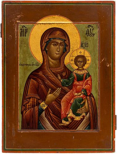 A RUSSIAN ICON OF THE MOTHER OF GOD HODEGETRIA, 19TH CENTURY
