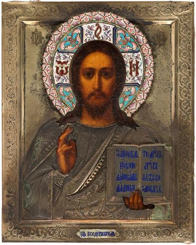A RUSSIAN ICON OF CHRIST PANTOCRATOR WITH GILDED SILVER AND CLOISONNE ENAMEL OKLAD, MARKED AMM, 1899-1908