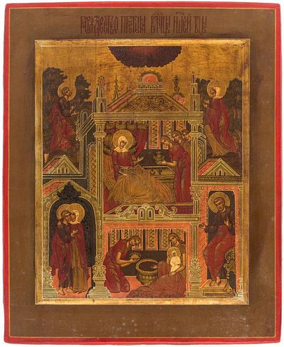 A RUSSIAN ICON OF THE NATIVITY OF THE MOTHER OF GOD, 19TH CENTURY
