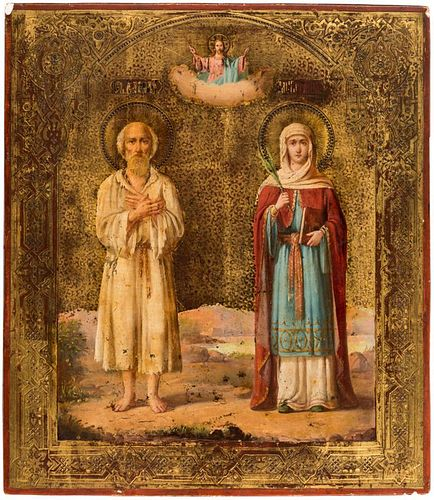A RUSSIAN ICON OF SAINT VASILY AND HOLY MARTYR MARIANA, 19TH CENTURY