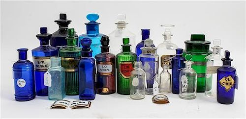 A Collection of Twenty Antique Apothecary Bottles Height of tallest 9 1/2 inches.