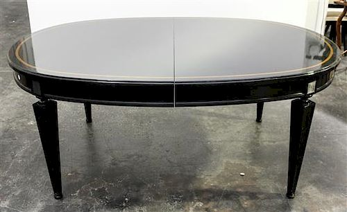 A Regency Style Ebonized Extension Dining Table and Eight Chairs Height of chairs 34 1/2 inches.