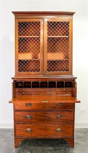An English Mahogany Secretary Bookcase