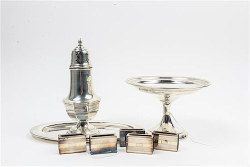 * A Collection of American Silver Table Articles, Various Makers, comprising a set of five J.E. Blake & Co. match book covers