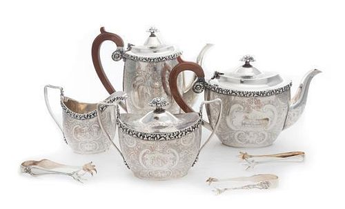 An English Silver-Plate Four Piece Tea and Coffee Service
