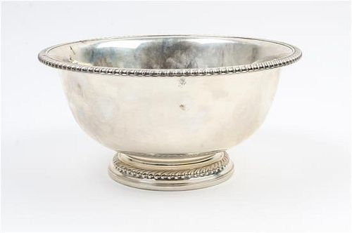 An American Silver Center Bowl, International Silver Co., Meriden, CT, having a gadroon rim and raised on a similarly decorat
